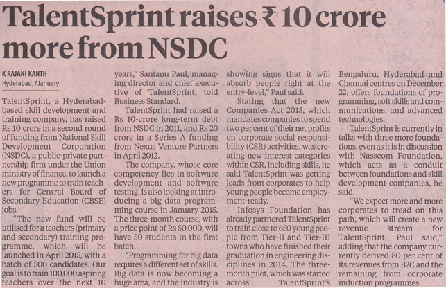 TalentSprint raises Rs.10 crore more from NSDC