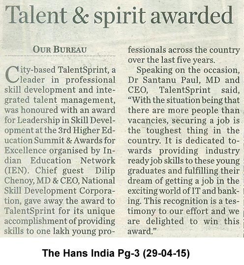 TalentSprint Award Press Coverage