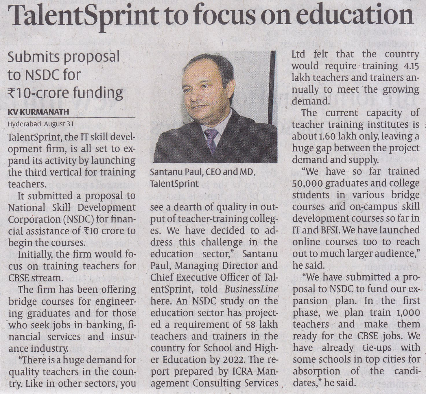 TalentSprint to focus on education