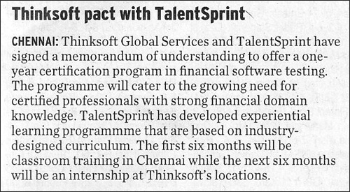 Thinksoft pact with TalentSprint
