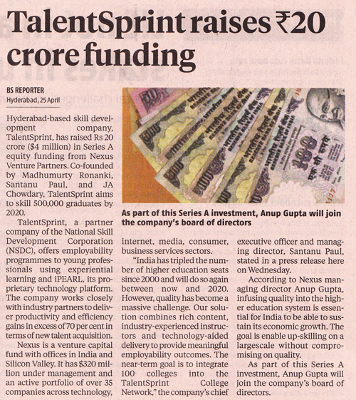 Business Standard - Talent raises Rs20 crore funding
