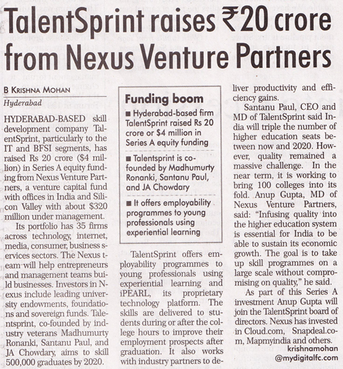 Financial Chronicle - Talent raises Rs20 crore funding