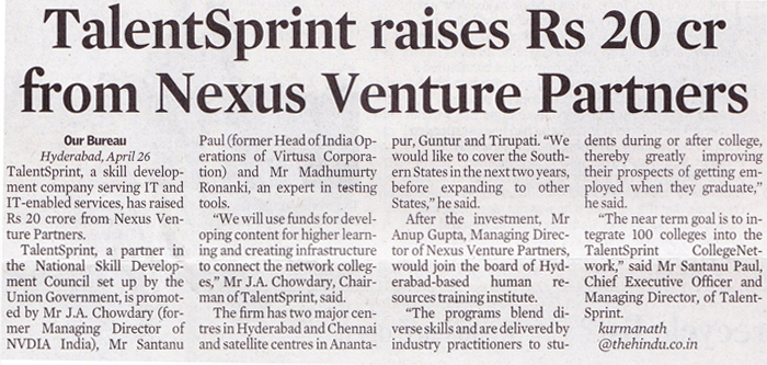 Times of India - Talent raises Rs20 crore funding