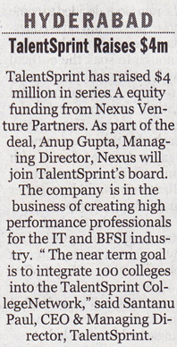 New Indian Express - Talent raises Rs20 crore funding